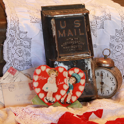 Vintage Mail with Valentines & Clock
