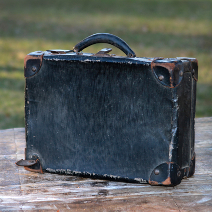 Vintage Black Leather Suitcase - Forever Vintage Rentals