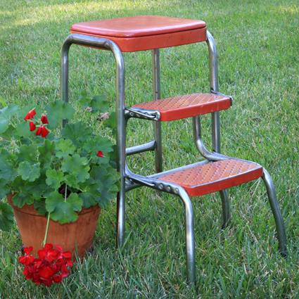 Wondrous Red Vintage Kitchen Step Stool Forever Vintage Rentals Gmtry Best Dining Table And Chair Ideas Images Gmtryco