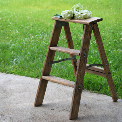 Two Step Wood Ladder Forever Vintage